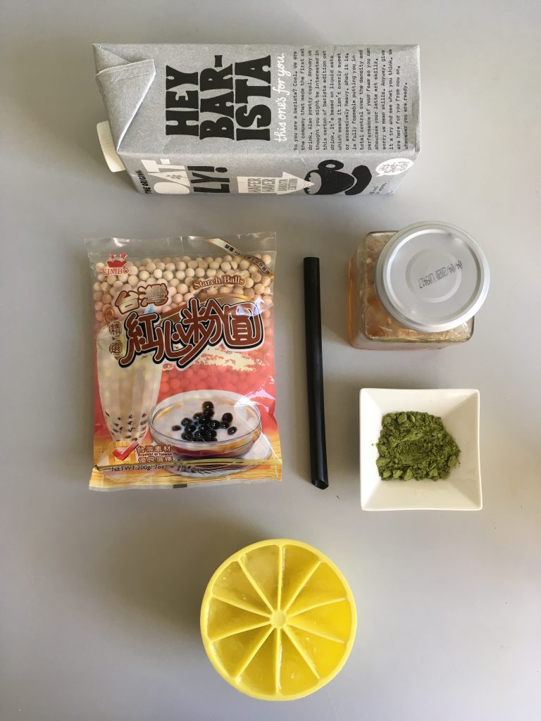 Ingredients for matcha bubble tea