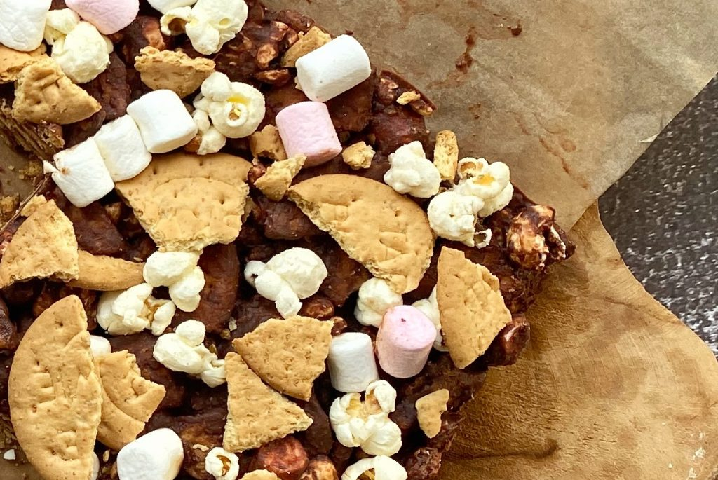 chocolate with cookies and popcorn