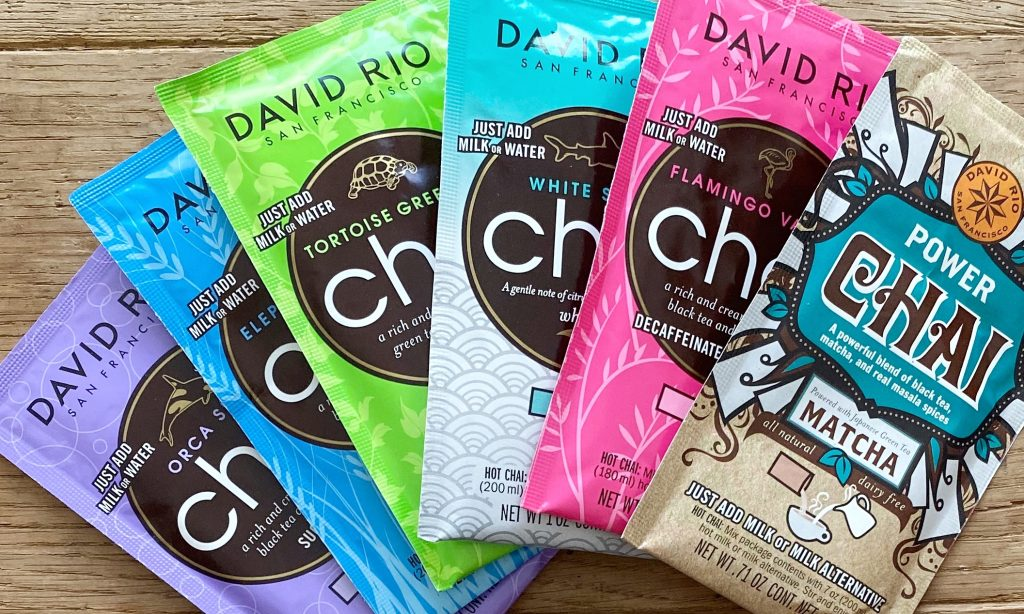 Selection of chai latte sachets from David Rio