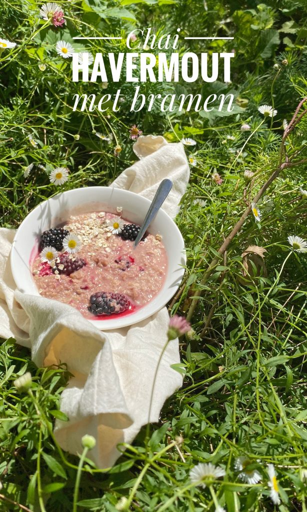Bowl of porridge with blackberries