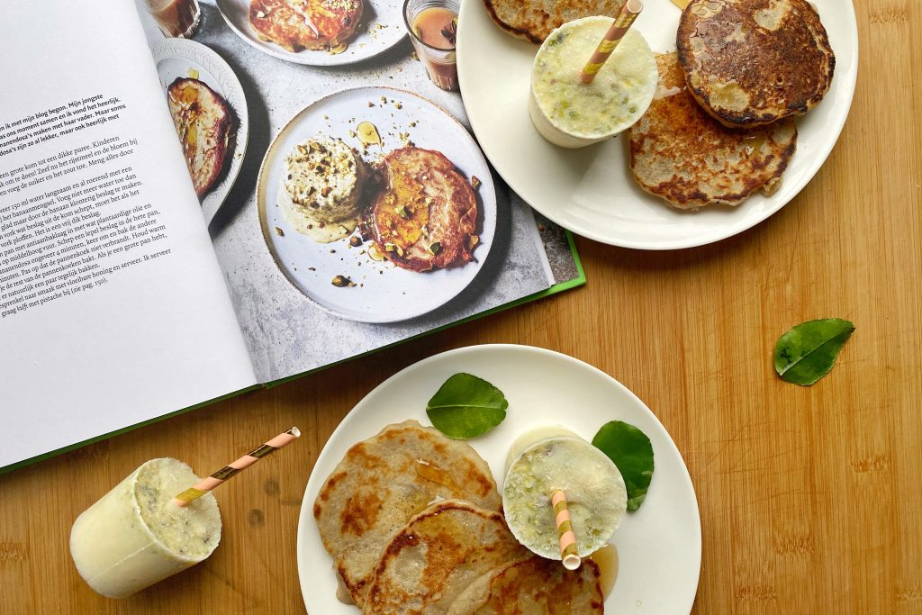cookbook with pancakes and ice creams