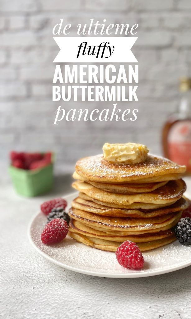 Stack of pancakes with text