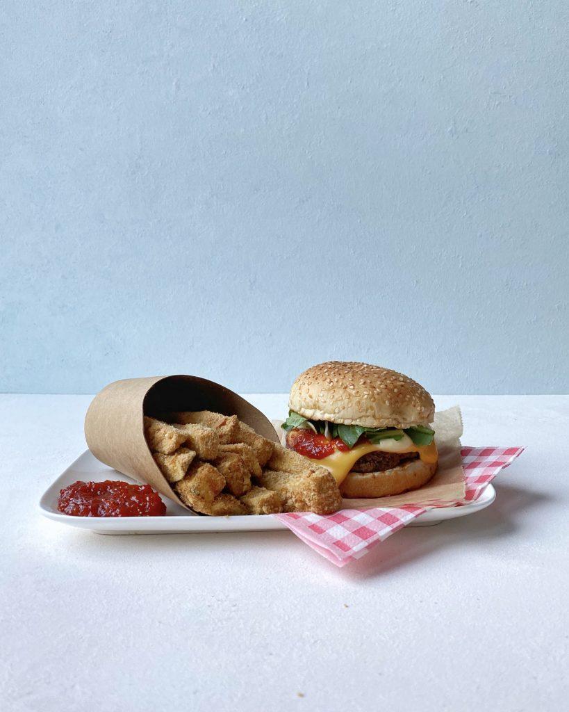 zucchini fries with veggie cheese burger