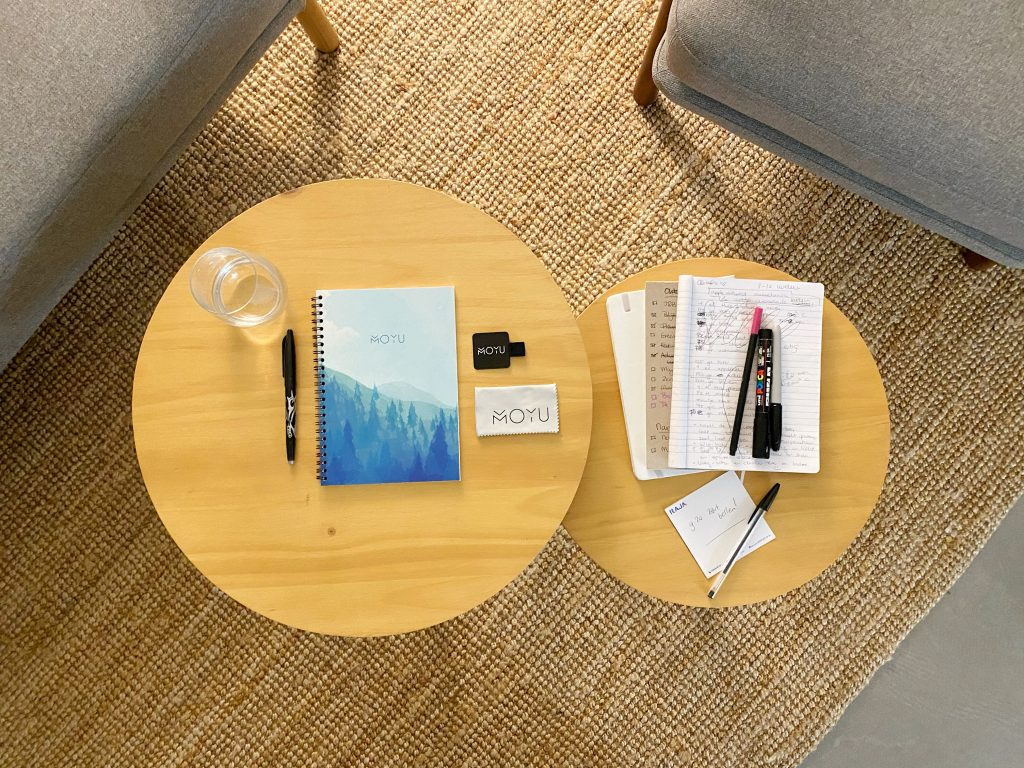 table with notebooks