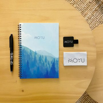 table with MOYU notebook