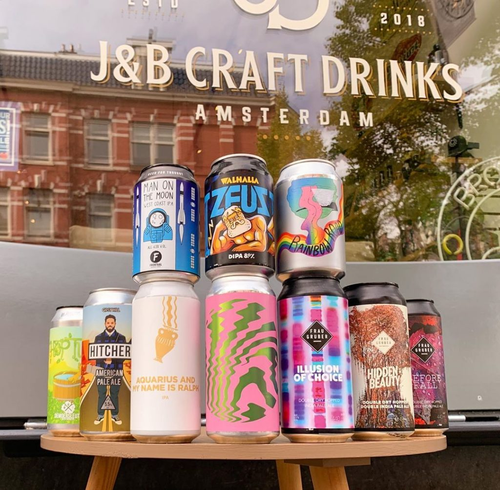 craft beer cans with colourful prints