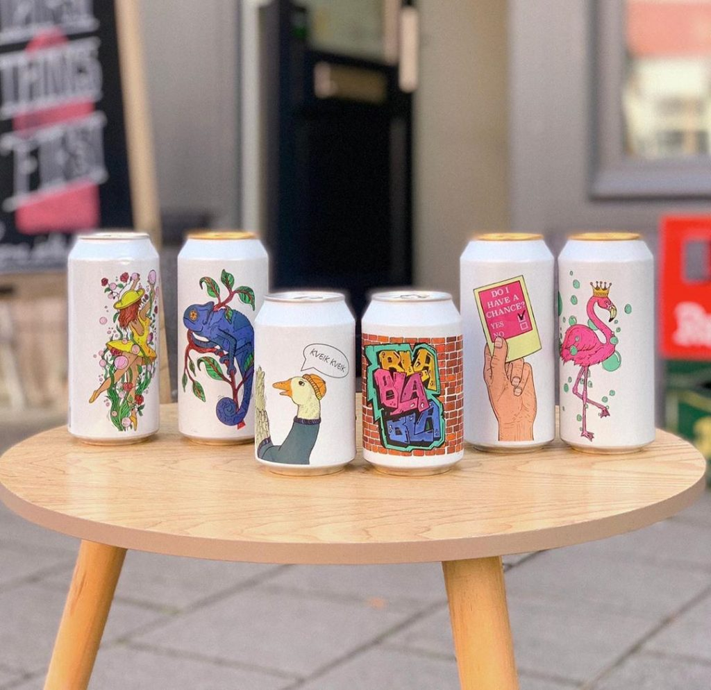 white beer cans with fun prints