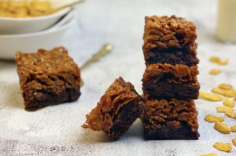 Cornflake caramel brownies van Cupcake Jemma
