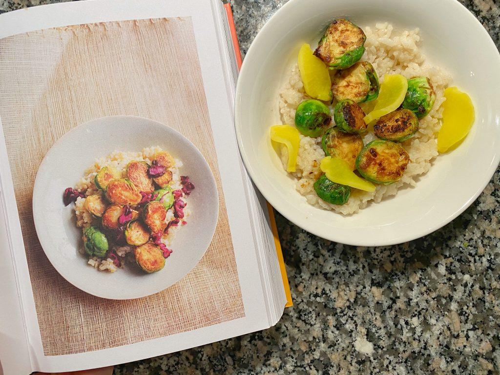 miso brussels sprouts with rice