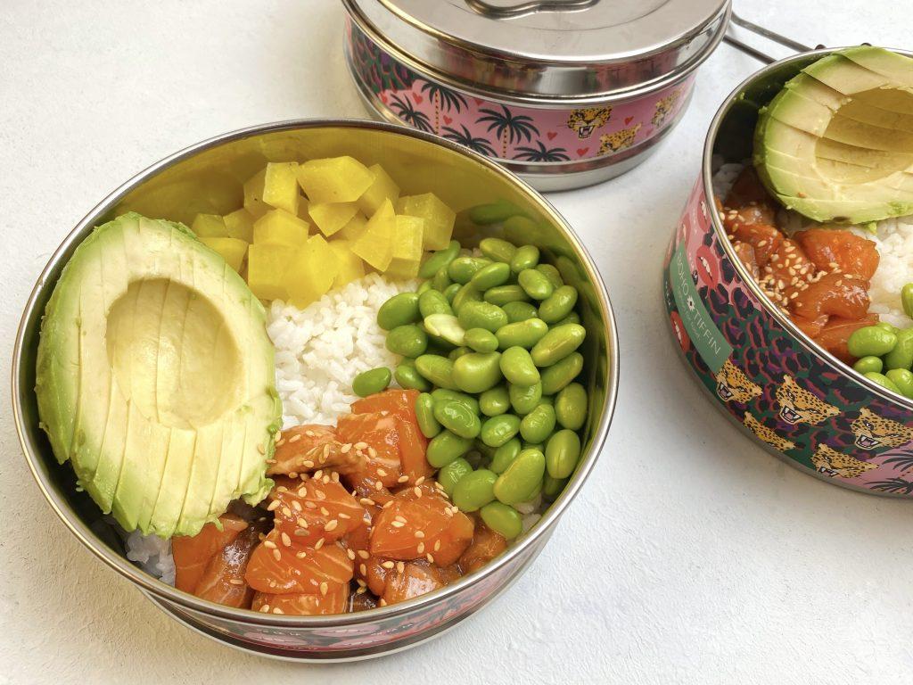 Poke bowl in tiffin