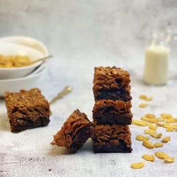 stack of cornflake caramel brownies