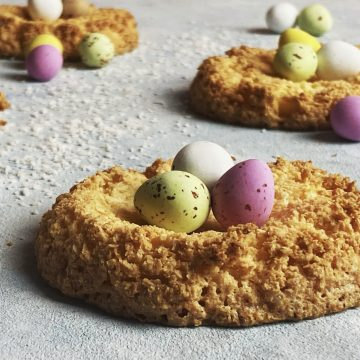 coconut macaroon nests with mini eggs