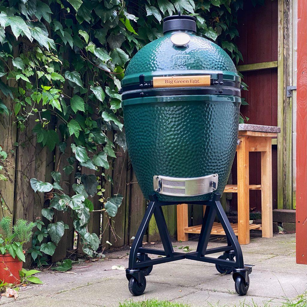 Big green egg BBQ in garden